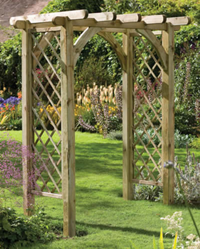 The Ultima and the Large Ultima Pergola Garden Arch from the