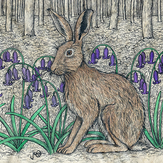 Hare and Bluebells Card