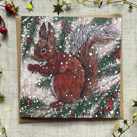 Snowy Squirrel Christmas Card