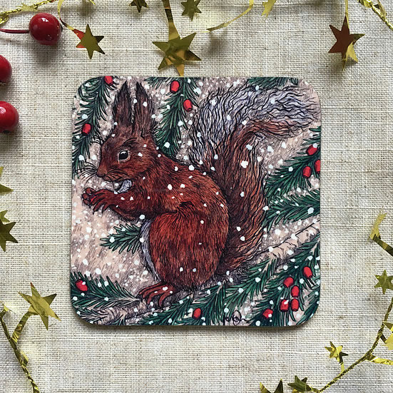 Snowy Squirrel Coaster Set